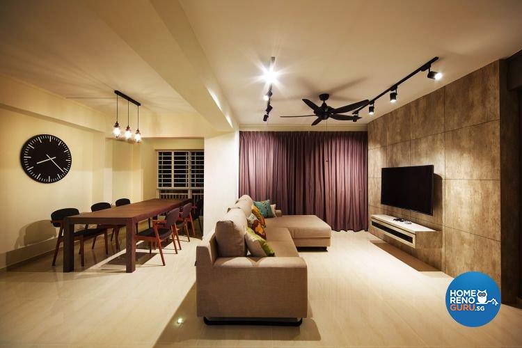 Contemporary, Minimalist Design - Living Room - HDB 5 Room - Design by Design 4 Space Pte Ltd