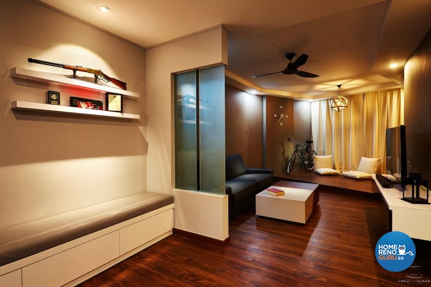 Contemporary, Industrial, Rustic Design - Living Room - HDB 5 Room - Design by Design 4 Space Pte Ltd