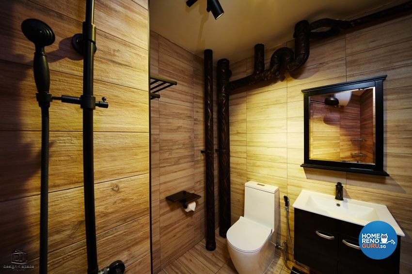 Contemporary, Industrial, Rustic Design - Bathroom - HDB 5 Room - Design by Design 4 Space Pte Ltd