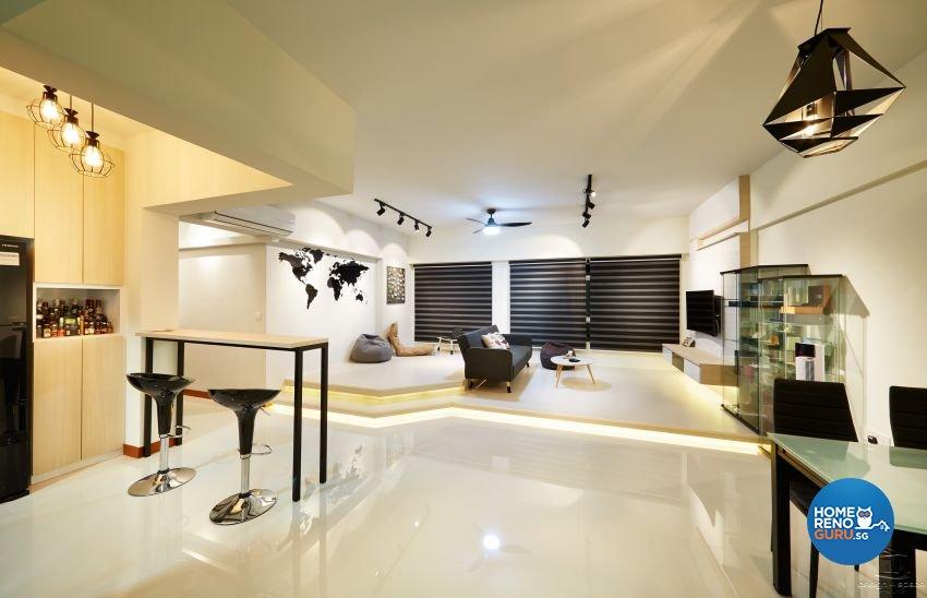 Minimalist, Modern Design - Living Room - HDB 5 Room - Design by Design 4 Space Pte Ltd