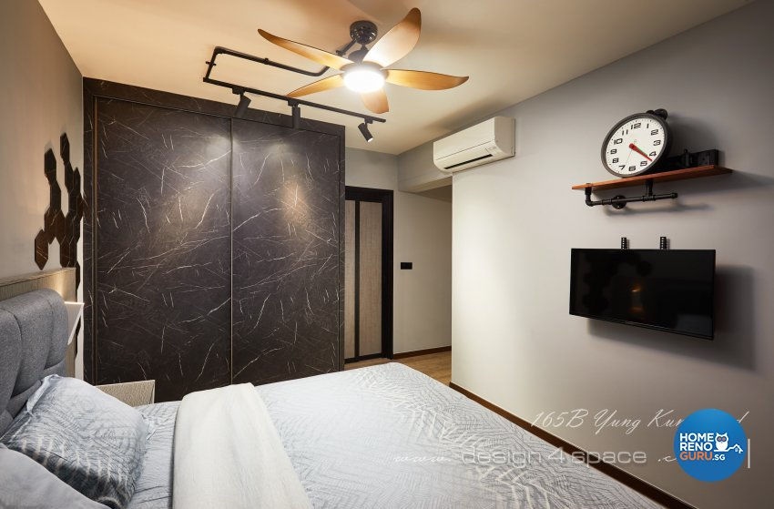 Industrial, Retro, Rustic Design - Bedroom - HDB 5 Room - Design by Design 4 Space Pte Ltd