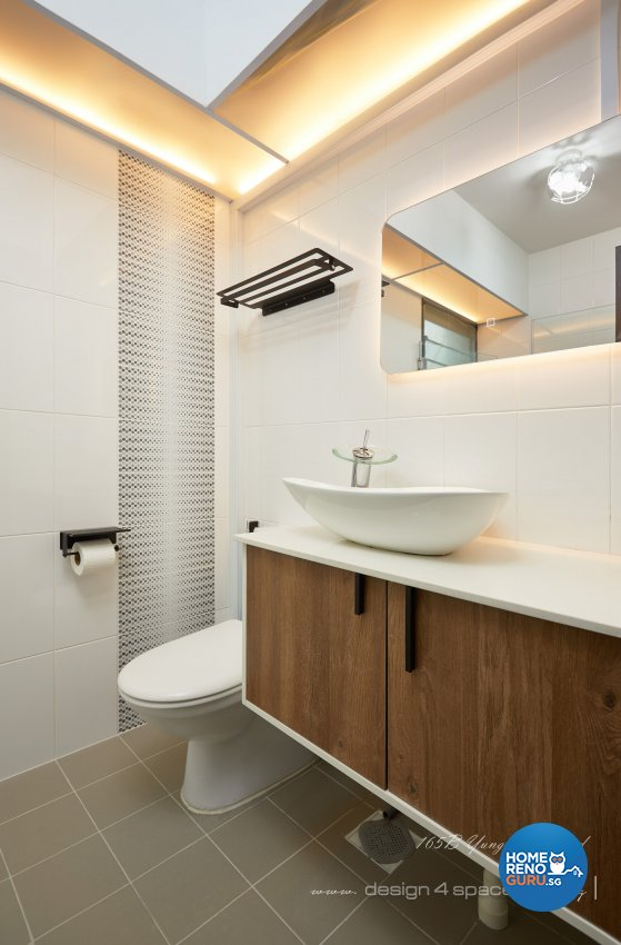 Industrial, Retro, Rustic Design - Bathroom - HDB 5 Room - Design by Design 4 Space Pte Ltd