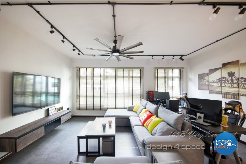Industrial, Retro, Rustic Design - Living Room - HDB 5 Room - Design by Design 4 Space Pte Ltd