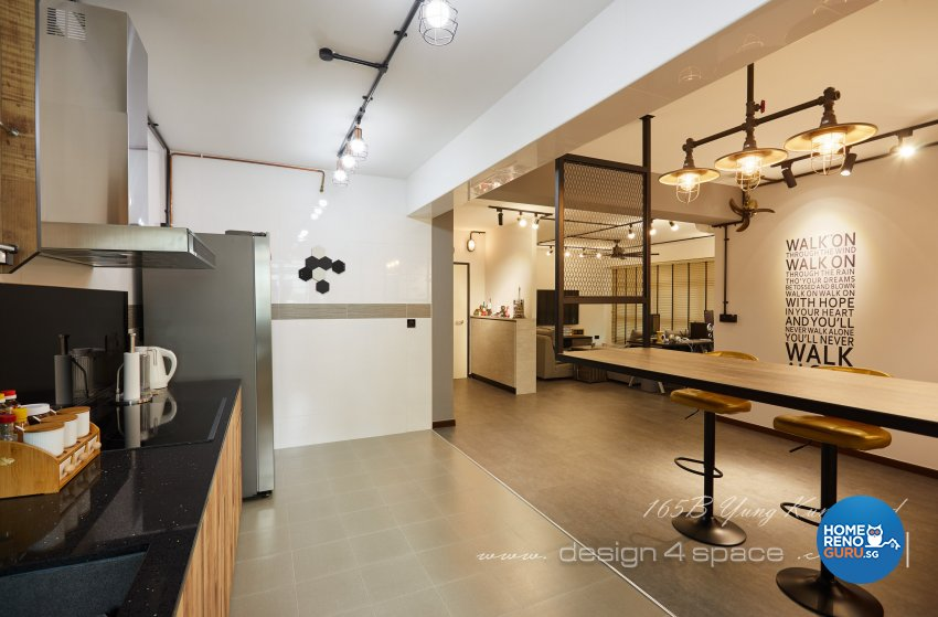 Industrial, Retro, Rustic Design - Kitchen - HDB 5 Room - Design by Design 4 Space Pte Ltd