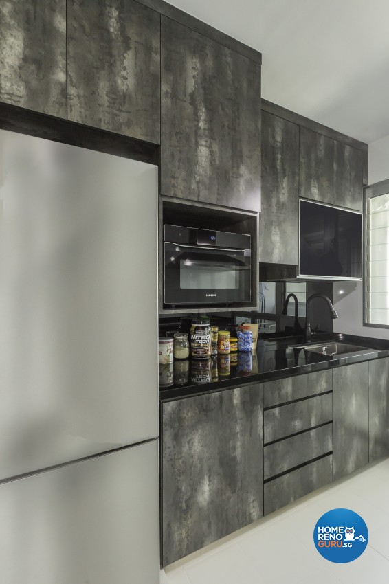 Industrial Design - Kitchen - HDB 3 Room - Design by Design 4 Space Pte Ltd
