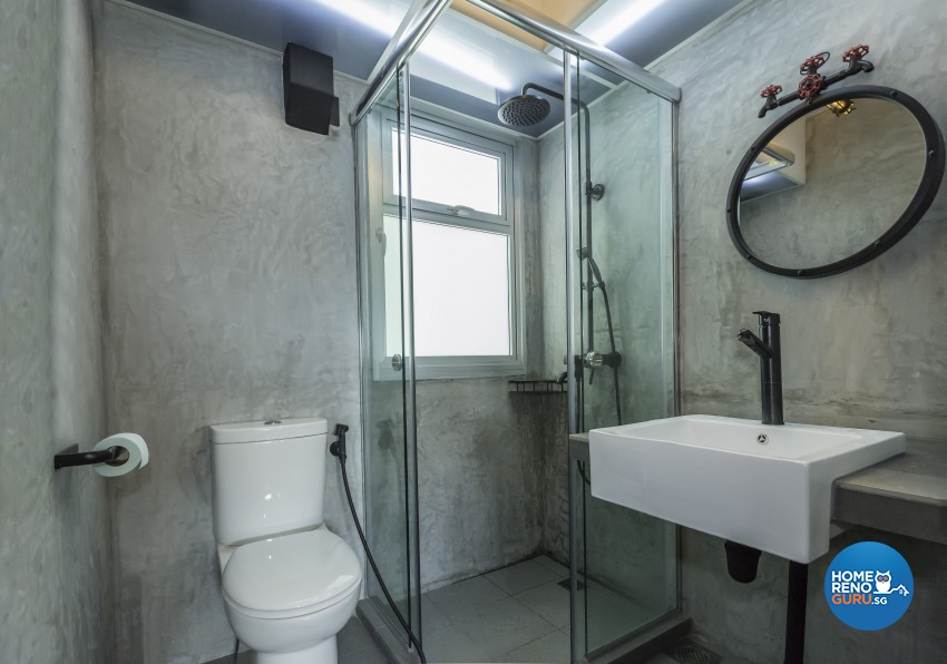 Industrial Design - Bathroom - HDB 3 Room - Design by Design 4 Space Pte Ltd