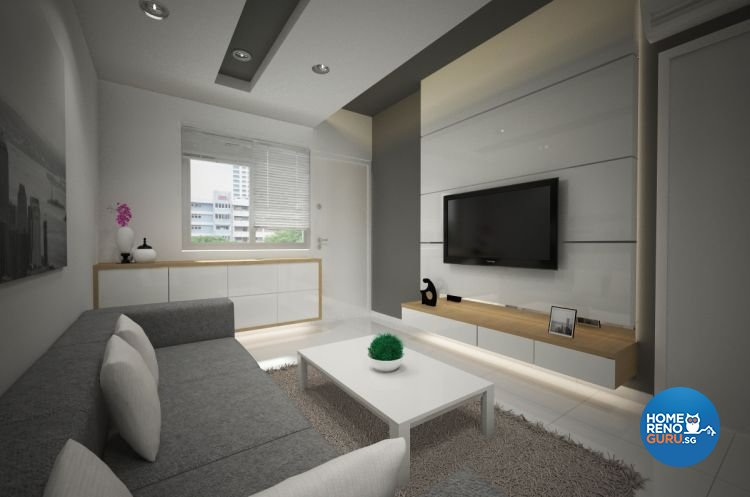 Contemporary, Minimalist Design - Living Room - HDB 3 Room - Design by Designscale Pte Ltd