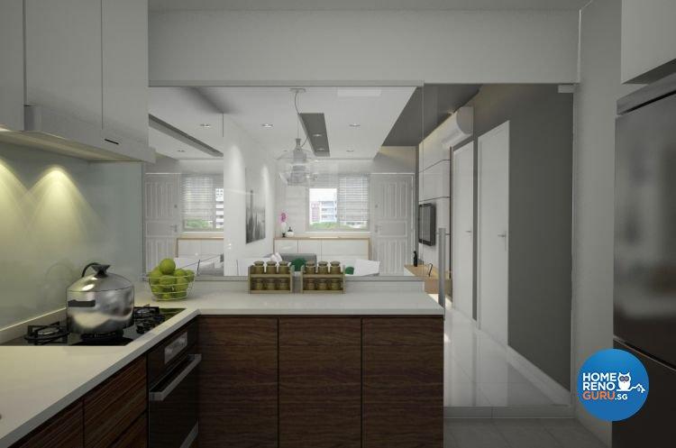 Contemporary, Minimalist Design - Kitchen - HDB 3 Room - Design by Designscale Pte Ltd