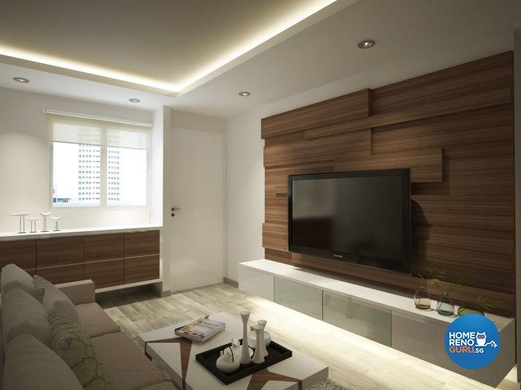 Minimalist Design - Living Room - HDB 3 Room - Design by Designscale Pte Ltd
