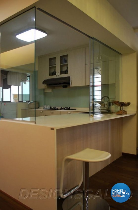 Contemporary, Tropical Design - Kitchen - HDB 5 Room - Design by Designscale Pte Ltd
