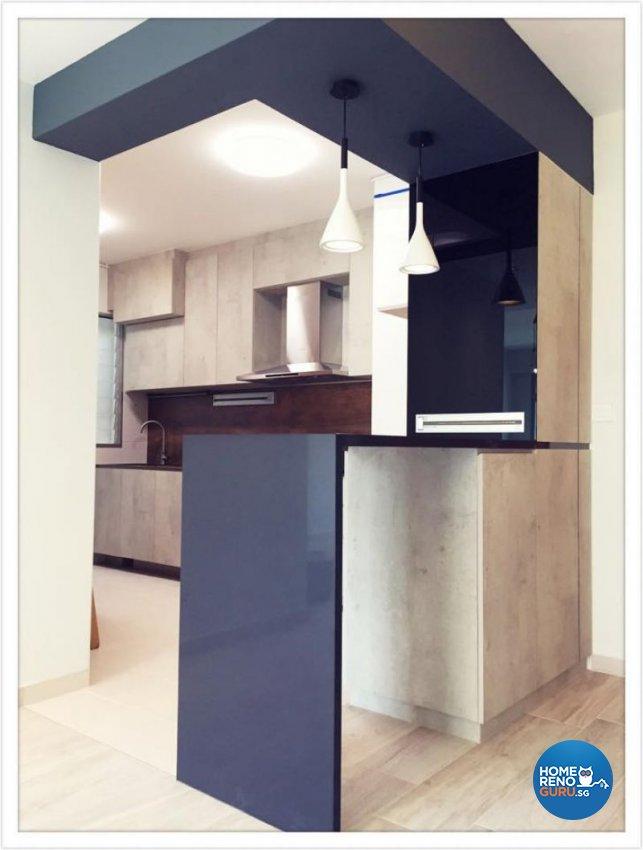 Contemporary, Industrial, Minimalist Design - Kitchen - HDB 4 Room - Design by Designscale Pte Ltd