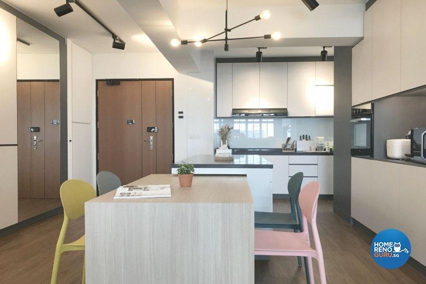 Modern, Scandinavian Design - Kitchen - HDB 4 Room - Design by Designscale Pte Ltd