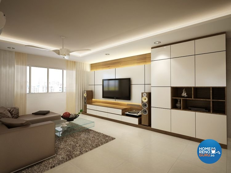 Contemporary, Modern Design - Living Room - HDB 5 Room - Design by Designscale Pte Ltd