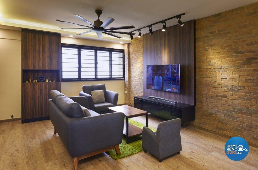 Industrial, Rustic Design - Living Room - HDB 4 Room - Design by Dezign Culture
