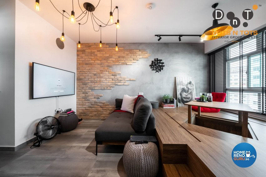 Industrial Design - Living Room - HDB Studio Apartment - Design by Dots n Tots Interior Pte Ltd