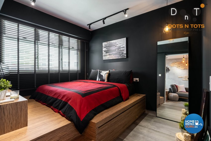 Industrial Design - Bedroom - HDB Studio Apartment - Design by Dots n Tots Interior Pte Ltd