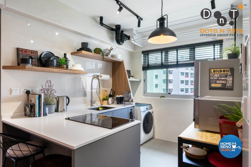 Industrial Design - Kitchen - HDB Studio Apartment - Design by Dots n Tots Interior Pte Ltd