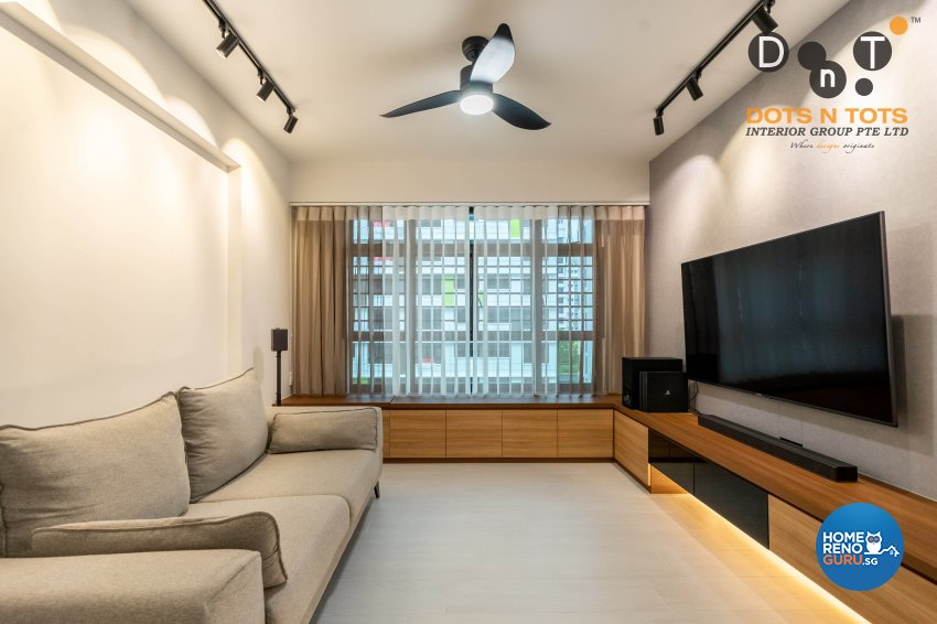 Contemporary Design - Living Room - HDB 4 Room - Design by Dots n Tots Interior Pte Ltd