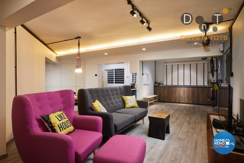 Contemporary, Minimalist Design - Living Room - HDB 5 Room - Design by Dots n Tots Interior Pte Ltd