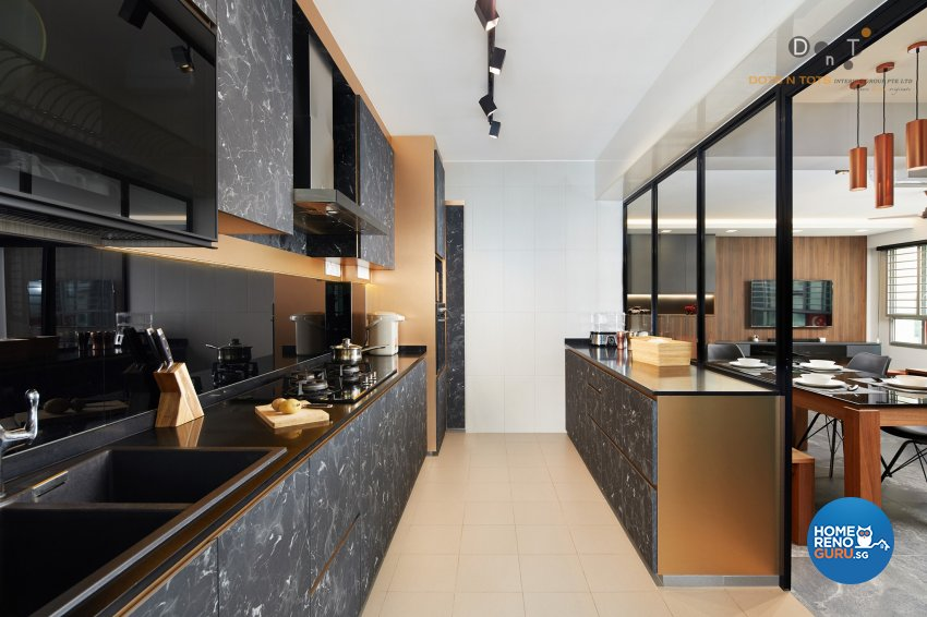 Contemporary, Modern Design - Kitchen - HDB 5 Room - Design by Dots n Tots Interior Pte Ltd