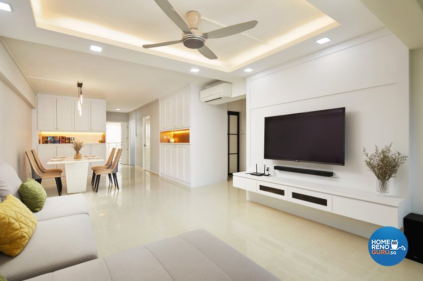 Contemporary, Modern Design - Living Room - HDB 5 Room - Design by Dots n Tots Interior Pte Ltd