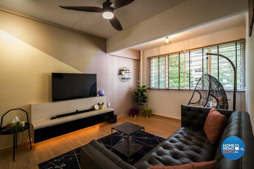 Contemporary, Modern Design - Living Room - HDB 5 Room - Design by Dots n Tots Interior Pte Ltd