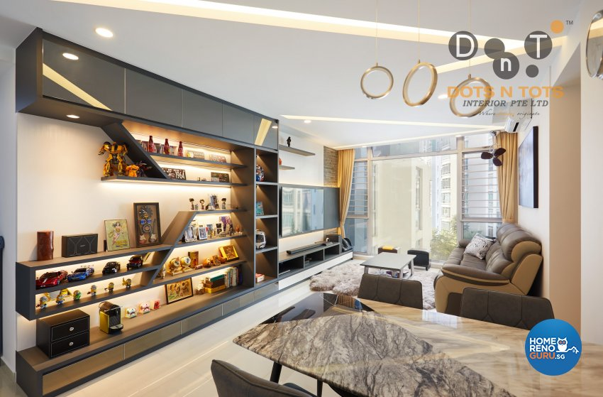 Modern, Scandinavian Design - Living Room - HDB 5 Room - Design by Dots n Tots Interior Pte Ltd