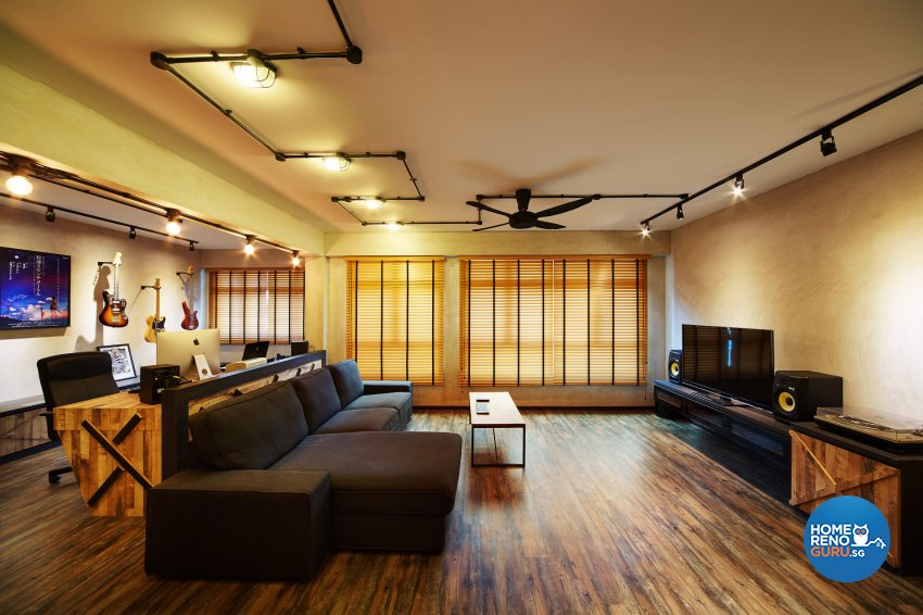 Industrial, Retro Design - Living Room - HDB 5 Room - Design by Dots n Tots Interior Pte Ltd