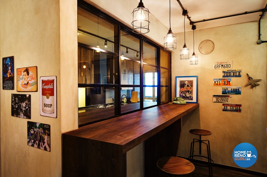 Industrial, Retro Design - Dining Room - HDB 5 Room - Design by Dots n Tots Interior Pte Ltd