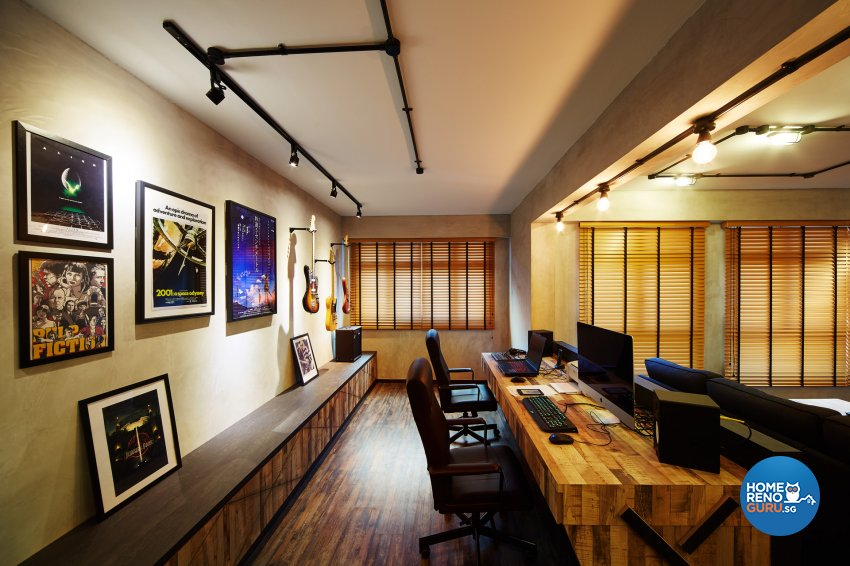 Industrial, Retro Design - Study Room - HDB 5 Room - Design by Dots n Tots Interior Pte Ltd
