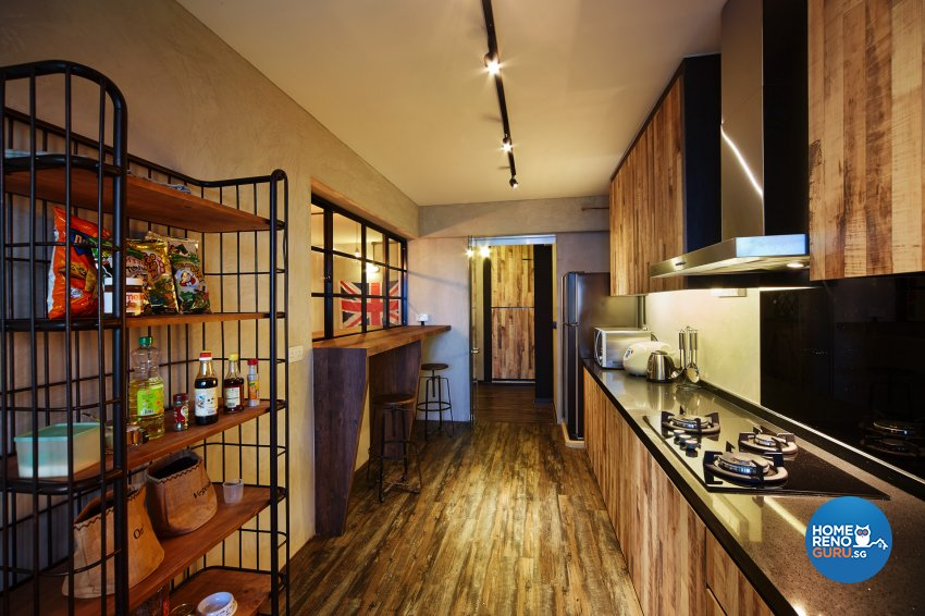 Industrial, Retro Design - Kitchen - HDB 5 Room - Design by Dots n Tots Interior Pte Ltd