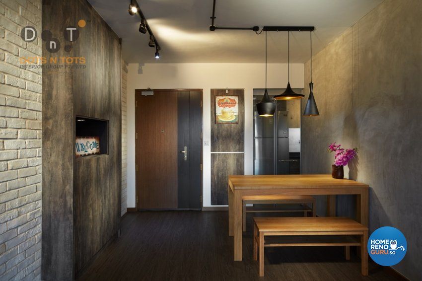Industrial Design - Dining Room - HDB 3 Room - Design by Dots n Tots Interior Pte Ltd