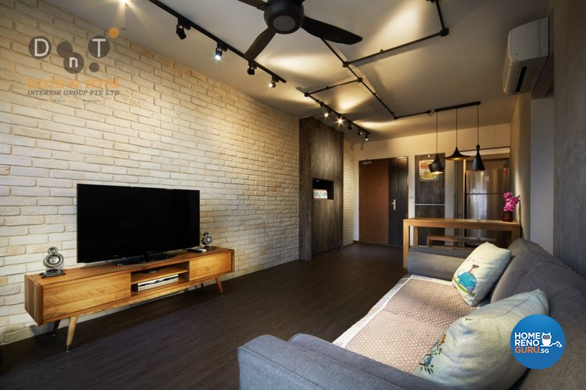 Industrial Design - Living Room - HDB 3 Room - Design by Dots n Tots Interior Pte Ltd