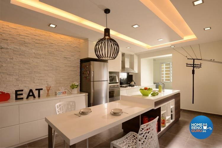 Tropical Design - Kitchen - HDB 4 Room - Design by D'Planner Pte Ltd
