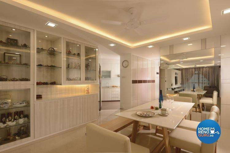 Minimalist, Scandinavian Design - Dining Room - Condominium - Design by D'Planner Pte Ltd