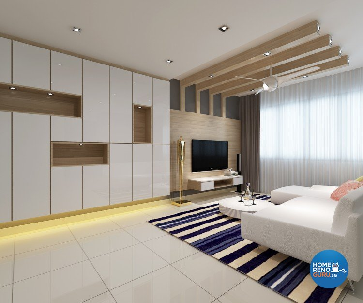 Contemporary, Modern Design - Living Room - HDB 5 Room - Design by DreamCreations Interior Pte Ltd