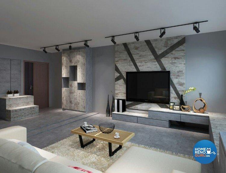 Industrial, Modern Design - Living Room - HDB 5 Room - Design by DreamCreations Interior Pte Ltd
