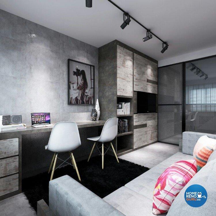 Industrial, Modern Design - Study Room - HDB 5 Room - Design by DreamCreations Interior Pte Ltd