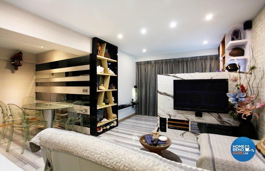 Eclectic, Modern Design - Living Room - HDB 4 Room - Design by Dreamvision Designer Pte Ltd