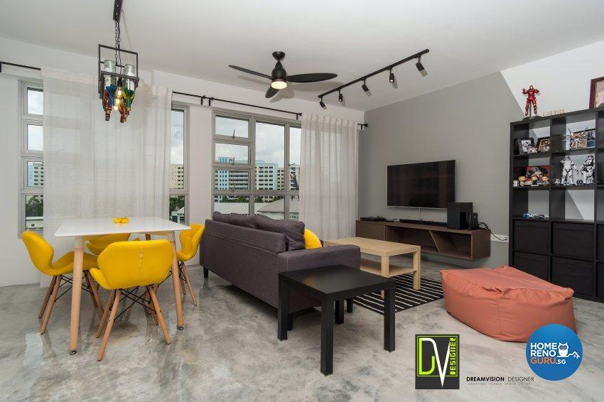 Contemporary Design - Living Room - HDB 4 Room - Design by Dreamvision Designer Pte Ltd