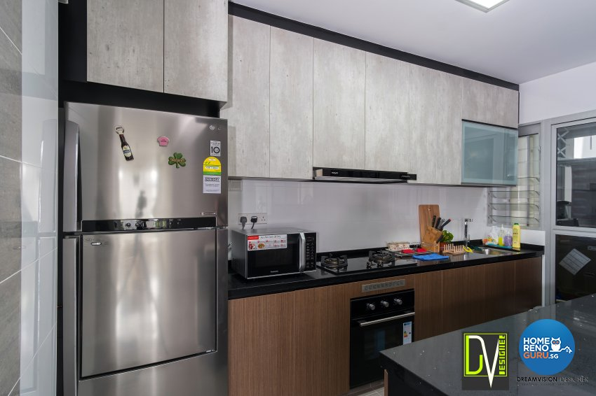 Contemporary Design - Kitchen - HDB 4 Room - Design by Dreamvision Designer Pte Ltd