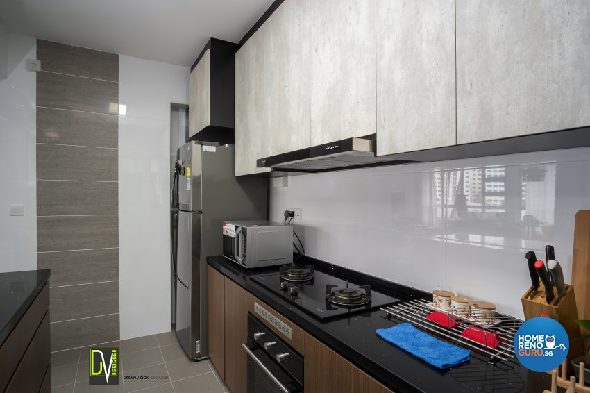 Contemporary Design - Kitchen - HDB 4 Room - Design by Dreamvision Designer Pte Ltd
