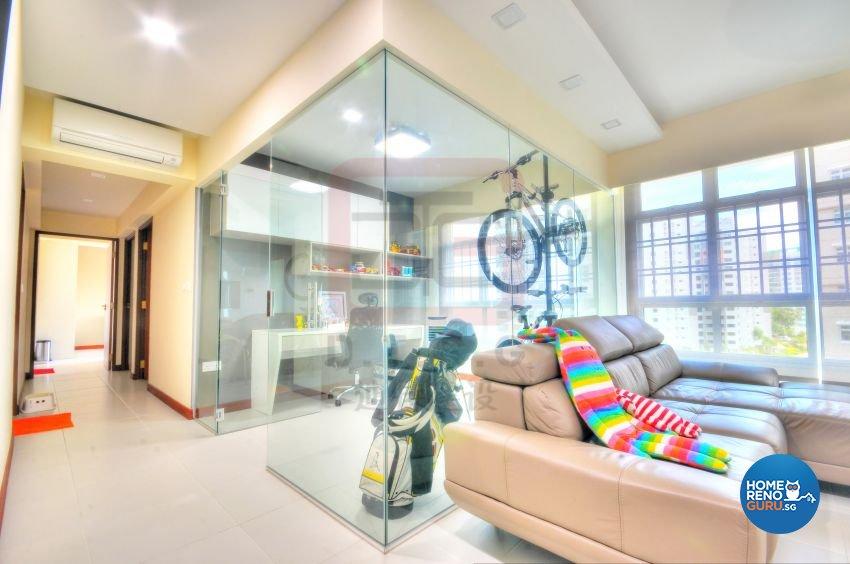 Contemporary, Minimalist, Modern Design - Entertainment Room - HDB 4 Room - Design by DT construction group Pte ltd