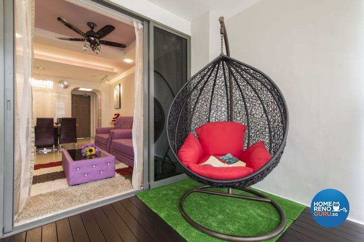 Modern Design - Balcony - HDB 4 Room - Design by Dzign Station Pte ltd