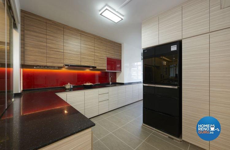 Contemporary, Modern Design - Kitchen - HDB 5 Room - Design by EC Vision Design Pte Ltd