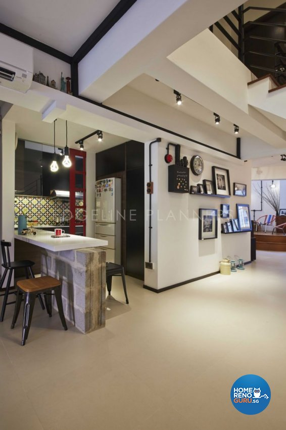 Industrial, Scandinavian, Vintage Design - Living Room - HDB Executive Apartment - Design by Edgeline Planners Pte Ltd