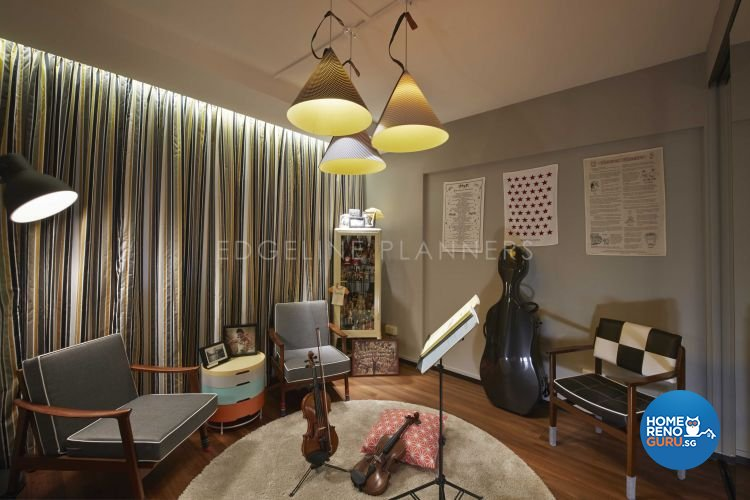 Industrial, Scandinavian, Vintage Design - Entertainment Room - HDB Executive Apartment - Design by Edgeline Planners Pte Ltd