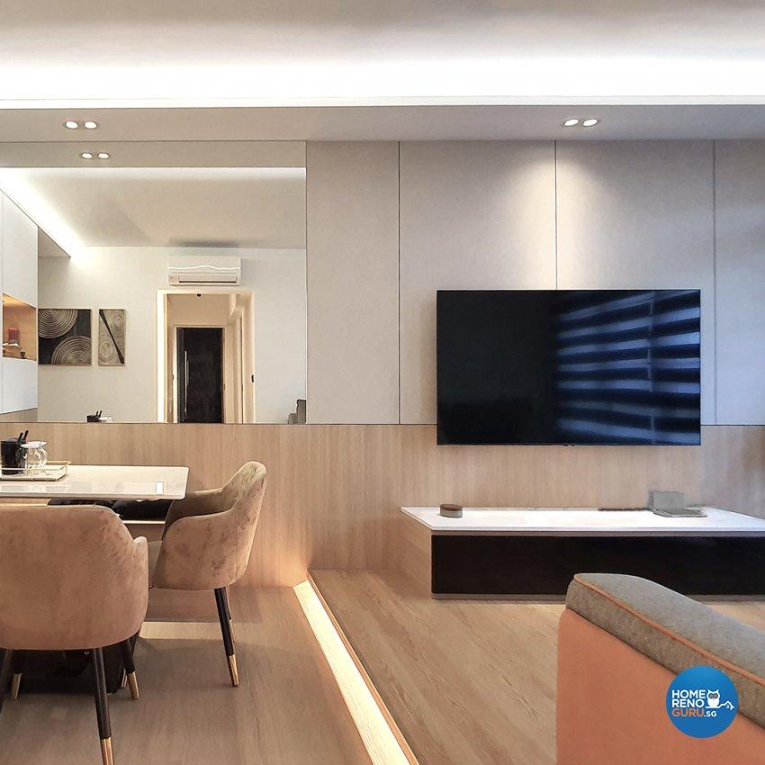 Contemporary Design - Living Room - HDB Studio Apartment - Design by Edgeline Planners Pte Ltd