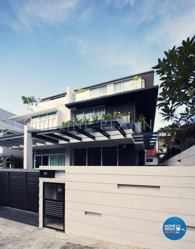 Industrial, Minimalist, Modern Design - Balcony - Landed House - Design by Edgeline Planners Pte Ltd