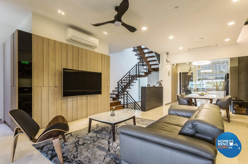 Contemporary Design - Living Room - Landed House - Design by Edgeline Planners Pte Ltd